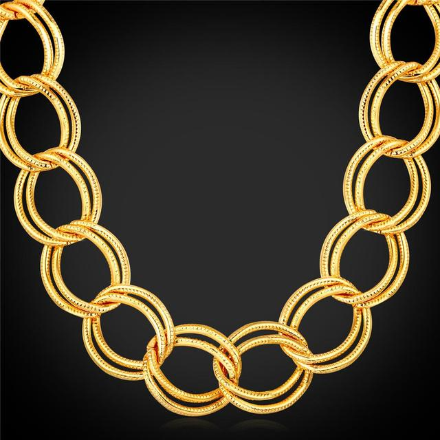 U7 Trendy American Style Chunky Big Chain For Men Jewelry Wholesale 71CM 19MM Yellow Gold Plated HipHop Chain Men Necklace IN104