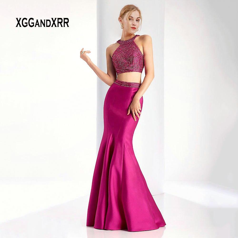 Fuchsia deux pièces robe de bal 2019 licou épaule dénudée sirène robes de bal longueur de plancher argent robe de soirée grande taille
