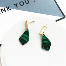 Geometric retro fashion earrings The natural decorative pattern stone Women metal jewelry wholesale