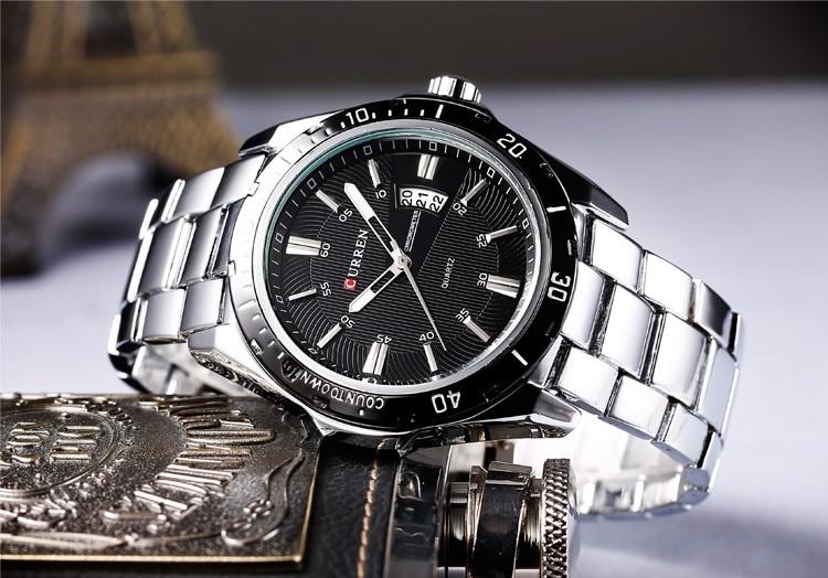 Mens Watches Top Luxury Brand CURREN 18 Men Full Steel Watches Quartz Watch Analog Waterproof Sports Army Military WristWatch 20