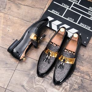 Image 2 - M anxiu Hot Sale Men Flat Black Golden Formal Patchwork Shoe PU Leather Casual Men Shoes For Man Dress Shoes 2020 New