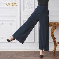 VOA зимние однотонные Темно синие женские офисные плюс Размеры свободные длинные широкие брюки ноги Повседневное краткое тяжелый шелк Для ж