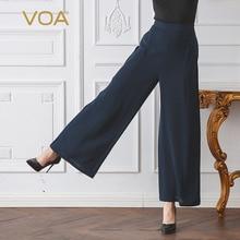 VOA 2017 Winter Solid Navy Blue Office Lady Plus Size Loose Long Wide Leg Pants Casual Brief Heavy Silk Women Trouser K101