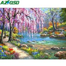 AZQSD Diamond Painting Scenic Rhinestones Pictures Gift Embroidery Garden Home Decoration Mosaic Full Layout