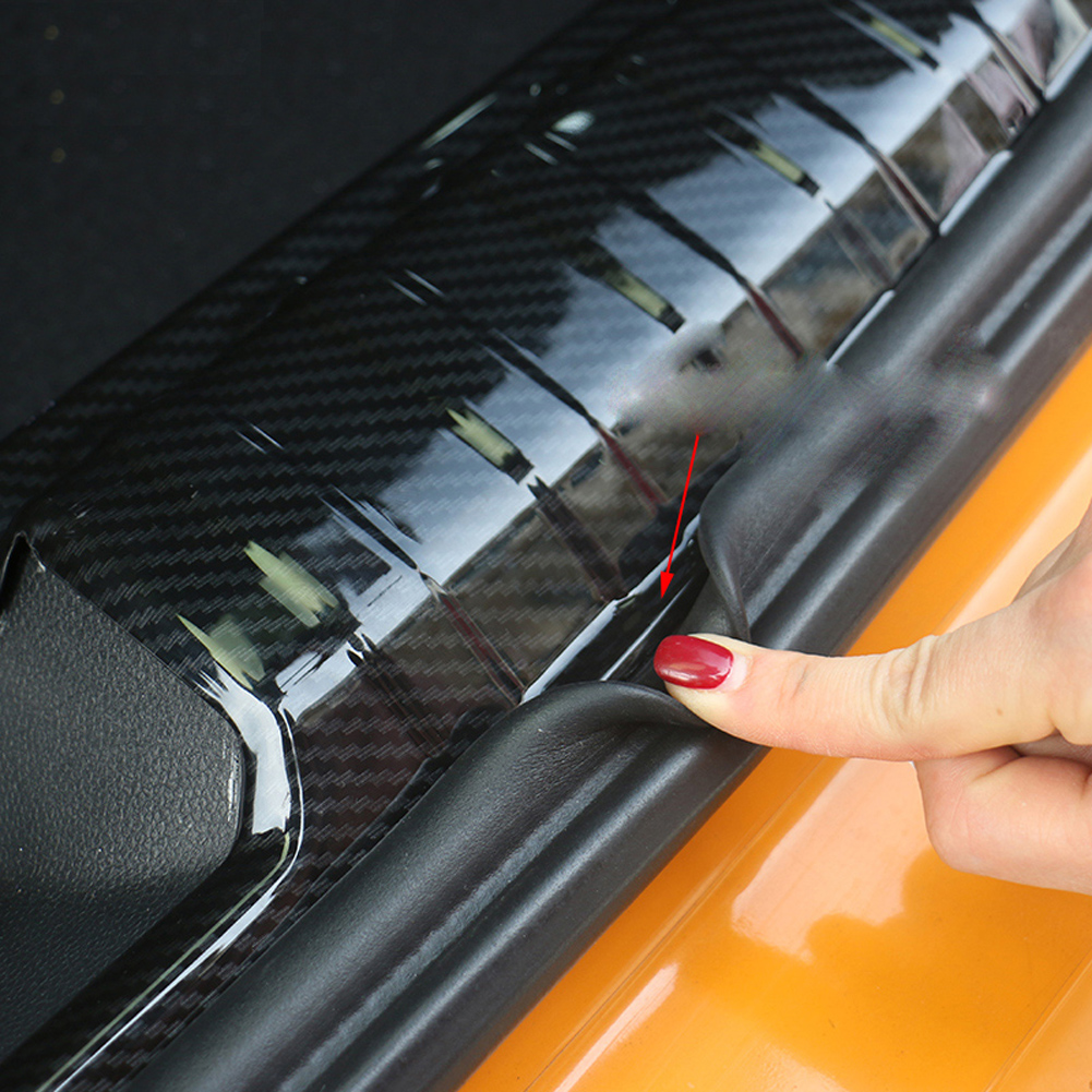 Autocollant extérieur intérieur de revêtement d'habillage de protecteur d'acier inoxydable de Fiber de carbone de coffre de pare-chocs arrière pour Mini Cooper F55 F56 F54 R60