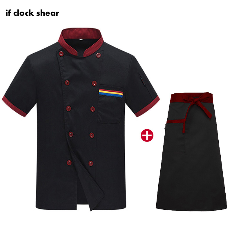 Unisex Restaurant Hotel Kitchen Uniforms Short Sleeve Catering Chef Workwear Catering Cooker Jacket + Apron Coat Chef Uniforms