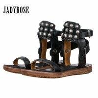 Jady Rose/Новинка 2019 г. женские сандалии гладиаторы в стиле ретро из натуральной кожи с заклепками и шипами на плоской подошве, повседневные пля