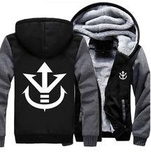 USA size Men Women Dragon Ball Saiyan Crest Coat Zipper Hoodie Winter Fleece Unisex Thicken Jacket Clothing
