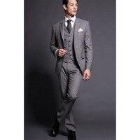 Fashion Center Vent Groom Tuxedos Notch Lapel Best Man Suit Grey GroomsmanBridegroom Wedding Prom Suits Jacket