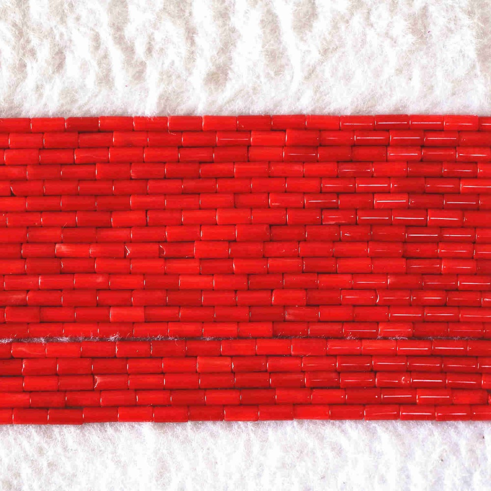 Wholesale price high grade natural coral red column tube shape 5x2mm 9x2mm stone charms diy jewelry findings 15inch B608