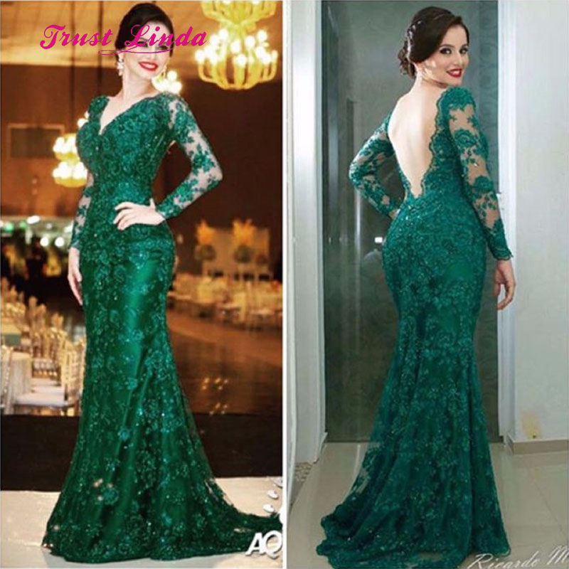 Backless Green Dress Women Party Wedding V Neckline Floor Length Lace Long Sleeves Long Dress For Wedding Party