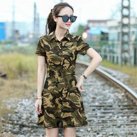 Women One piece Sports Shirt With Short Skirt Fashion Camouflage Military Tactical Romper Trekking Camping Dancing Outdoor Dress