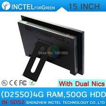 Двойной 1000 Мбит Nics 15 дюймов Сенсорный Экран Все в Одном Компьютере с 5 Провод Gtouch 4: 3 6 COM LPT 4 Г RAM 500 Г HDD