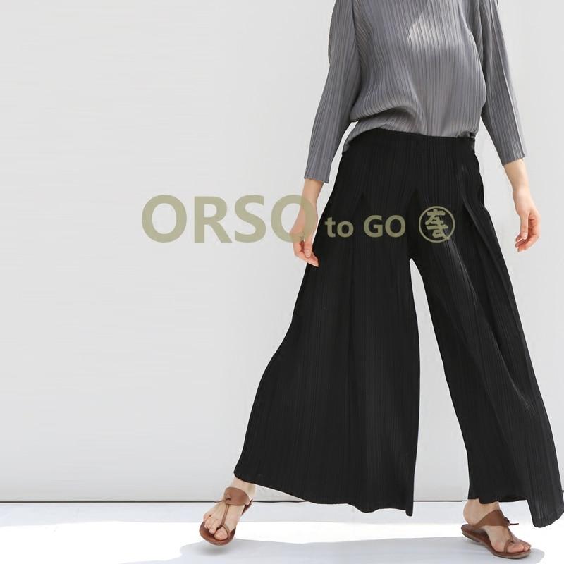 Azterumi Issey Miyake Spring Summer New Women Casual Loose   Wide     Leg     Pants   Ladies High Waist Ankle-length   Pant   Black Brown Gray
