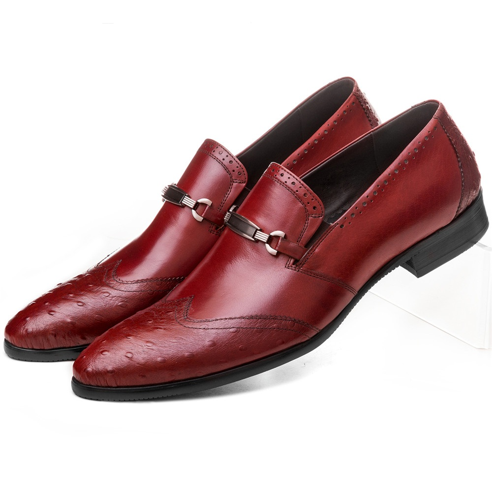 Fashion Black / brown tan mens business shoes genuine leather wedding shoes mens dress shoes with buckle