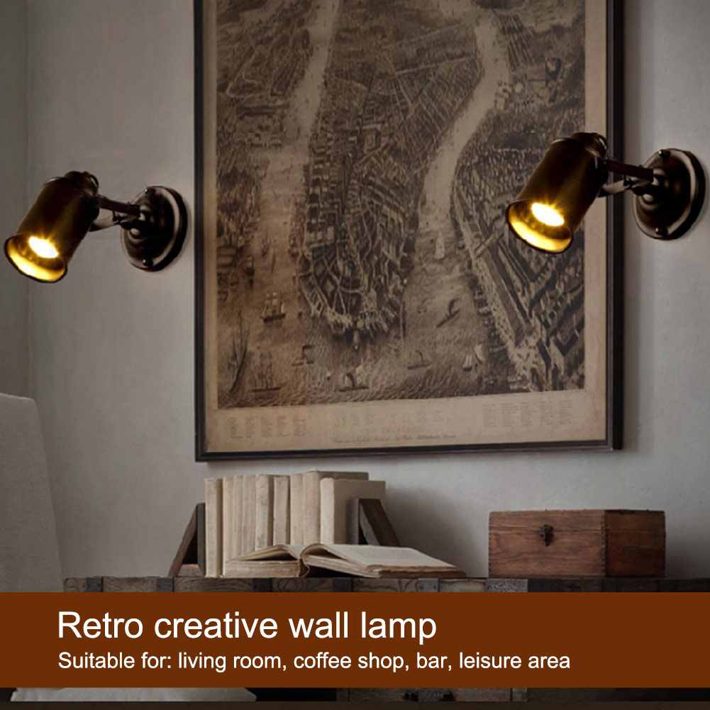 Retro Bedside Wall Light Sconces Vintage Industrial E27 Wall Lamp Antique Bedroom Living Room Coffee Shop Wall Lamps Fixtures fashion rustic iron bedroom bedside wall light fixture home deco living room e27 wall lamp european vintage glass wall sconces