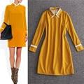Victoria beckham 2017 outono primavera manga comprida turndown collar amarelo profundo dress reivet e-pacotes de alta qualidade frete grátis