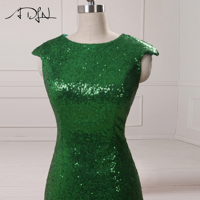 ADLN Sparkly Sequined Mermaid Evening Dresses With Slit Cap Sleeve Green Long Prom Dresses 2017 Sexy Party Gowns 7