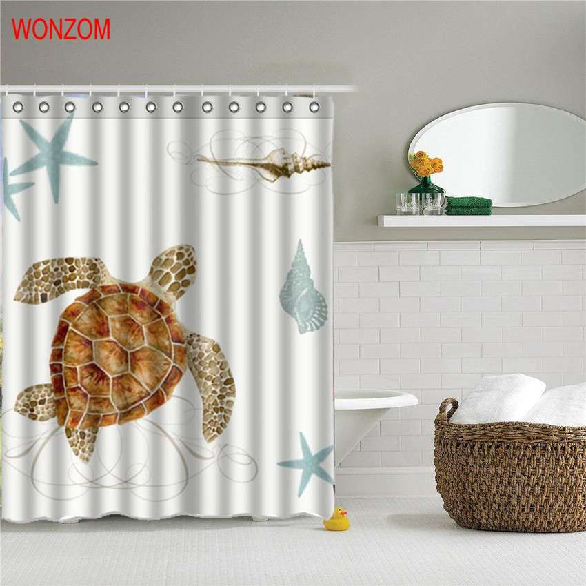wonzom 1pcs marine life waterproof shower curtain turtle bathroom