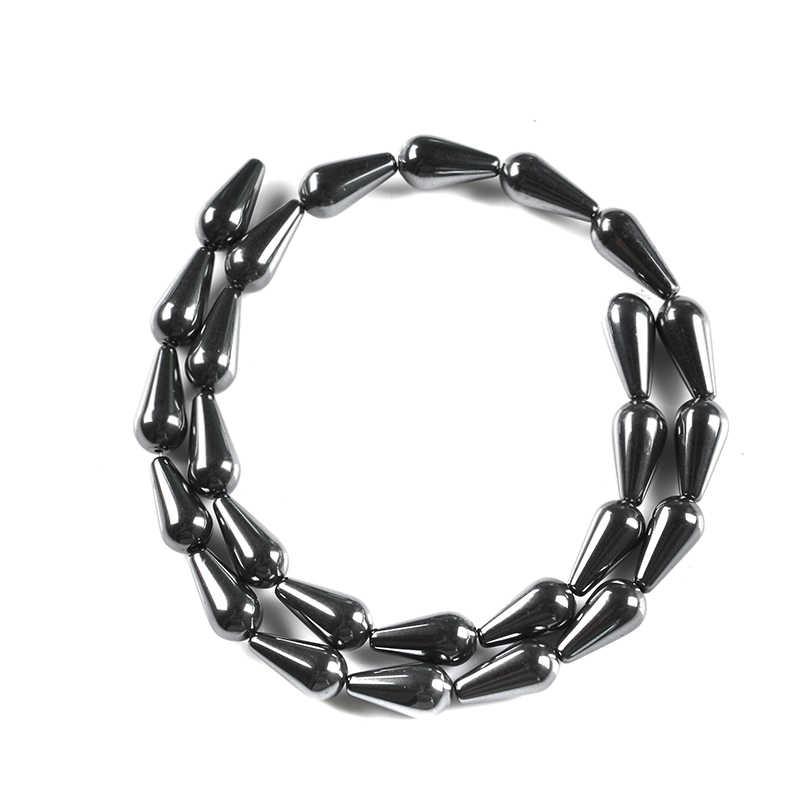 Naturalny kamień kropla wody kształt czarny hematyt koraliki 15*8mm 26 sztuk koralik kamień dla DIY biżuteria bransoletka naszyjnik akcesoria do robienia