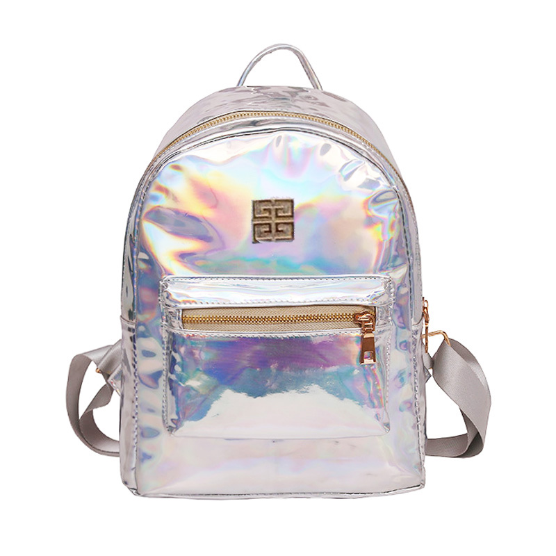 Holograma Mochila Backpack Women Silver Hologram Laser Backpack School Bag Leather Holographic Backpack Multicolor Sac A Dos