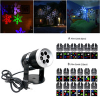 Christmas Snow Laser Projector Outdoor LED Fairy Light Projection 6 12 Film Cards Holidays Wedding Christmas