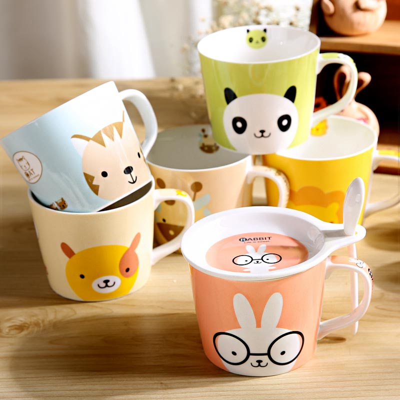 500ml Panda Lion Rabbit Cat Ceramic Mug with Lid and Spoon Breakfast Oatmeal Milk Cup for Birthday Gift DEC203