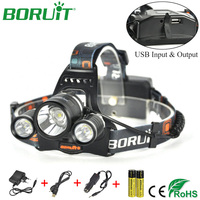 BORUiT XML L2 LED Headlamp Flashlight 4 Modes Lantern Rechargeable Headlight Portable Camping Hunting Head Torch Light 18650
