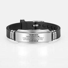 Для моего сына вдохновляющие мужские часы наручные из нержавеющей стали силиконовые браслеты для мальчиков Любовь Подарки от мамы папы