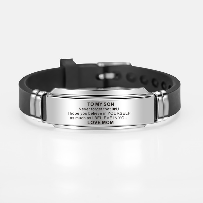 To My Son Inspirational Bracelet Men Wristband Stainless Steel Silicone Bracelets For Boys Love Gifts From Mom Dad