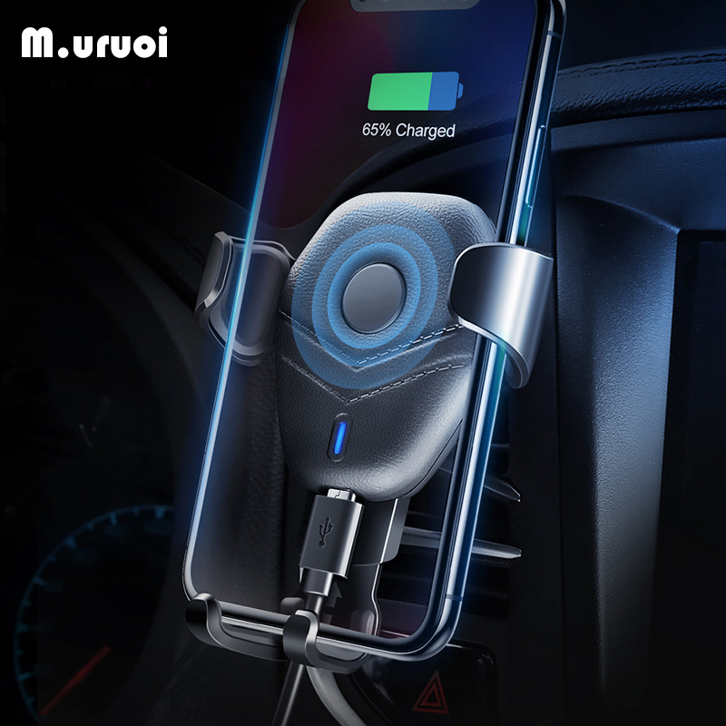 M.uruoi Qi Car Wireless Charger For iPhone 8 X XS Max XR Samsung Mobile Phone Charger 10W Mount Holder Wireless Car Charging New