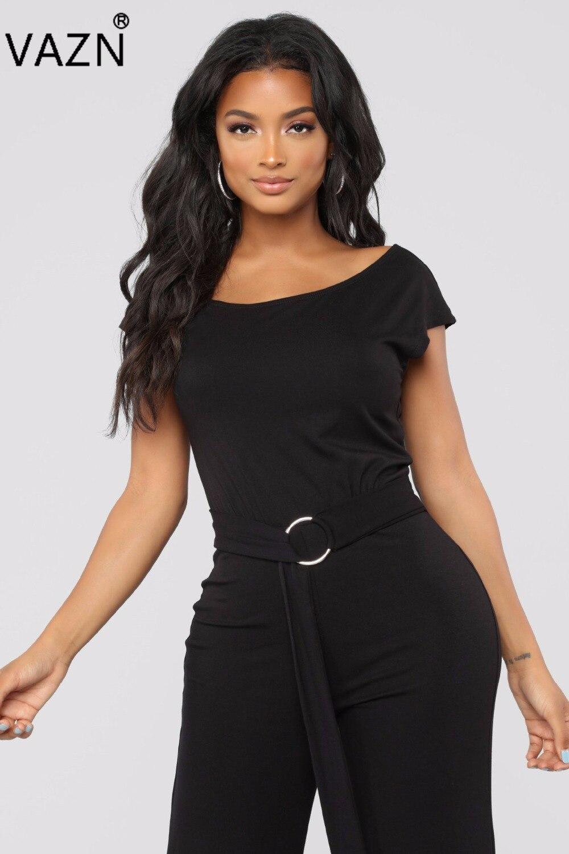 f4c4872cc20 VAZN Autumn hot 2018 sexy solid long jumpsuit women slash neck short sleeve  jumpsuits ladies waist