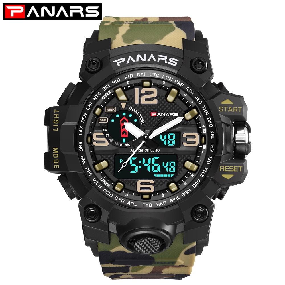 PANAR Brand Men Sports Watches Dual Display Analog Digital LED Electronic Quartz Wristwatches Waterproof Swimming Military WatchPANAR Brand Men Sports Watches Dual Display Analog Digital LED Electronic Quartz Wristwatches Waterproof Swimming Military Watch