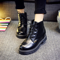 Martin Boots Shoes Spring Autumn Retro Fashion Student Round Toe Flat Strappy Short Canister  Women Boots Shoes