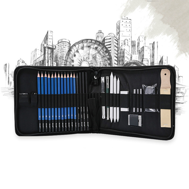 32pcs Sketch Pencil Set Students Professional Sketching Drawing Kit Wood Pencil Kids Pencil Bags For Painter School Art Supplies32pcs Sketch Pencil Set Students Professional Sketching Drawing Kit Wood Pencil Kids Pencil Bags For Painter School Art Supplies