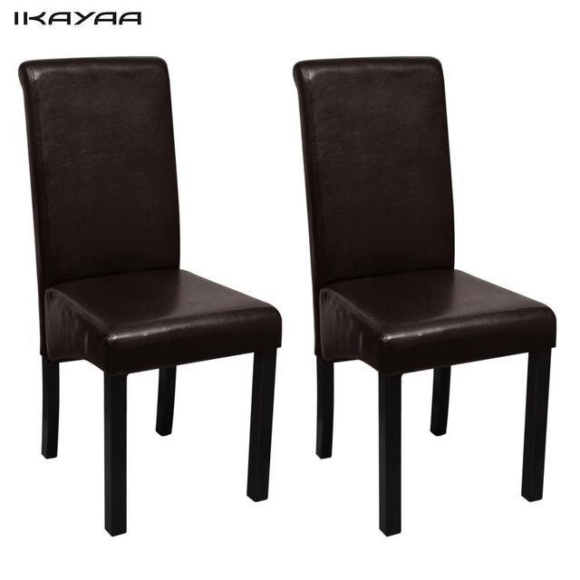 Ikayaa 2 unids tapizados sillas de comedor con cuero marrón para ...