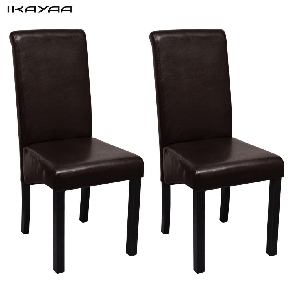 iKayaa 2 Pcs dining chairs upholstered with leatherette Brown Chairs For Dining Room ES Stock