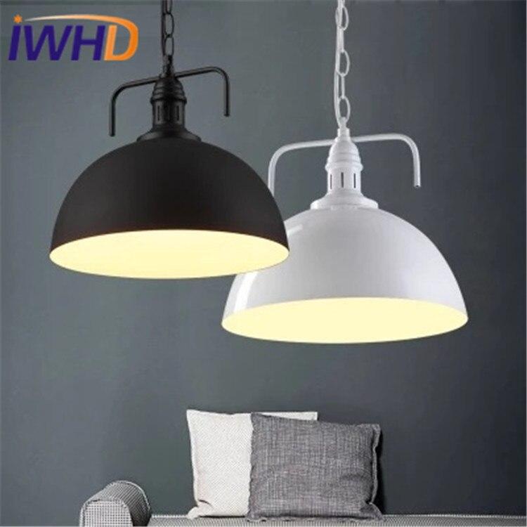 Nordic Loft Industrial Antique Pendant Light Fixtures Single Head Retro Lid Pendant Lamp LED Simple Antique Iron Hanging Light