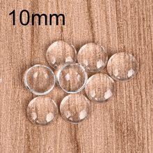 100 adet/grup 10mm yuvarlak Cabochons şeffaf cam Clear düz geri DIY kolye bulguları takı yapımı el yapımı aksesuarlar
