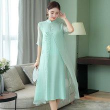 c2a50088fa 2018 Nowy Lato W Stylu Vintage Kobiety sukienka Chiński Zen Ręcznie  malowane Sztuki Odzież Suknie Jasnozielonym 8881