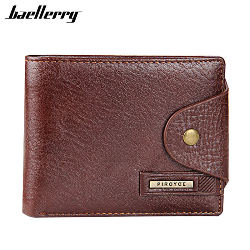Baellerry Genuine Leather Brand Men Wallets Design Short Small Wallets Male Mens Purses Card Holder Carteras with Photo Holders