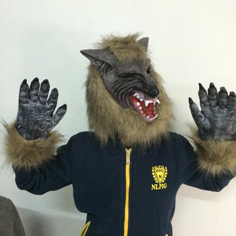 Halloween cosplay costume party cosplay carnaval kigurumi costume mask horor props wolf mask gloves latex elastic mask in Boys Costume Accessories from Novelty Special Use