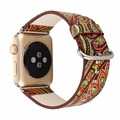 Национальный Vintage Народная Стиль Цветочный Красочная упаковка Кожа Смотреть Ремешок Ремешок для Apple Watch iwatch 38/42 мм Браслет I160.