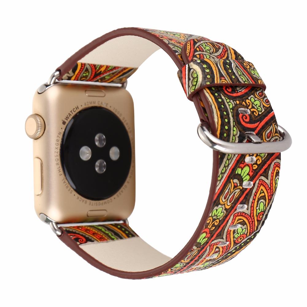 Prix pour National vintage folk style floral coloré pu montre en cuir de courroie de bande pour apple watch iwatch 38/42mm bracelet i160.