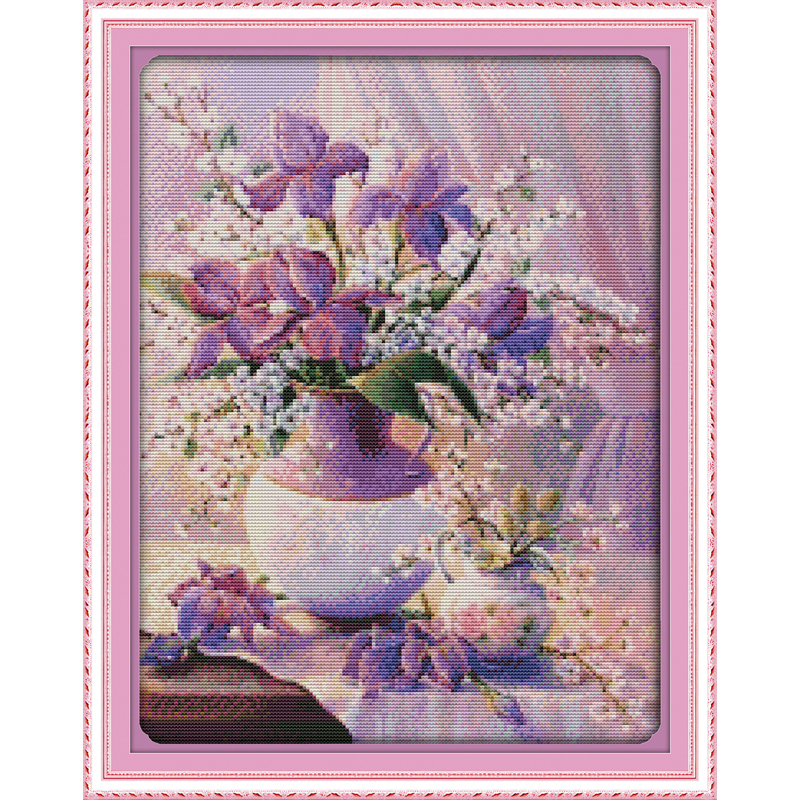 Everlasting Love Purple vase (2) Ecological cotton chinese Cross Stitch kits 11CT stamped DIY gift new year decorations for home
