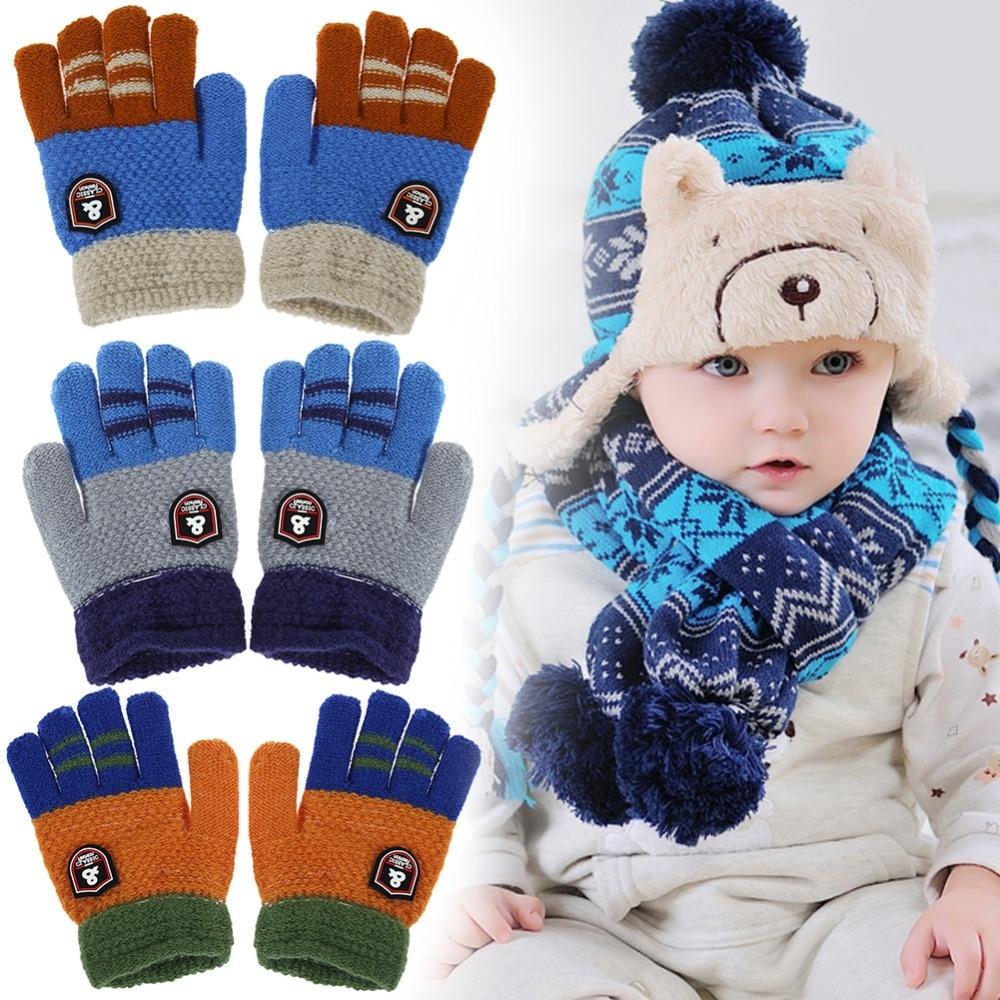 Fashion Winter Kids Warm Gloves Child Full Finger Ski Gloves Baby Girls Boys Cartoon Hand Muff Children Knitted Stretch Mittens все цены