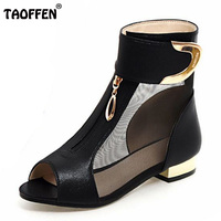 TAOFFEN Summer New Elegant Brand Mesh Sandals Metal Decoration Peep Toe Shoes Woman Low Heels Large