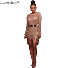 2017 Early Autumn Women Sexy Knitted Hollow Cut Dress Long Sleeve Stylish Bodycon See-through Gold Black Club Party Vestidos