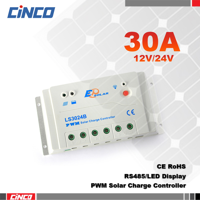 US $45 51 5% OFF|LS3024B , 30A 12V/24V EPSOLAR solar lighting controller  connect solar panel regulator with RS 485 remote control on computer-in  Solar