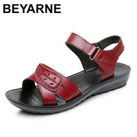 BEYARNE 2018 Summer New Fashion Woman Sandals Mother Large Size Flat Leather Sandals Slip Comfort Elderly
